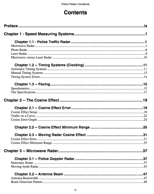 Police radar handbook table of contents for Table of contents
